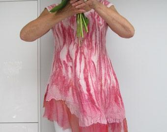 NOW SOLD  Handmade nuno felted raspberry /soft pink dress.