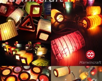 Battery Powered LED 20 Asian Multi Color Chinese Paper Lantern Fairy String Lights Patio Party Wedding Gift Wall Hanging Home Decor Japenese