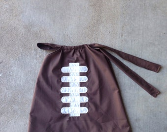 Football, embroidered, sports, Boutique Style Pillowcase Dress size NB 3  6 9 12 24 months, size 2 3 4 5 6