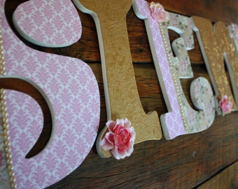 Custom Nursery Letters- Personalized Name-Sienna-Gold-pink-cream-pearl nursery-Wooden Hanging Letters - Honey Boo Boutique