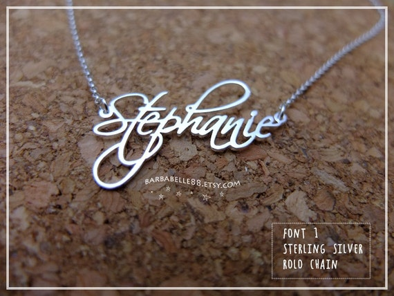 20% off //Font 1 // Personalized Name Necklace 925 sterling silver- custom name// SALE//mother- graduation- bridesmaid-Valentine gift