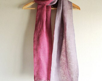 Natural (Lac / Cochineal) dyed double faced Linen scarf