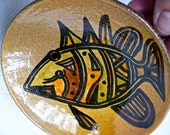 SALE - Pottery - Signed -Vintage Studio Pottery -Hand Potted Plate - Bahamas - Hand Painted Fish - Modernist Small Bowl - Abstract Fish Dish