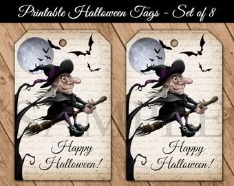 Witch on Broom Halloween Printable Hang Tags - Happy Halloween Digital