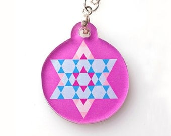 Pink Star of David Pendant Necklace