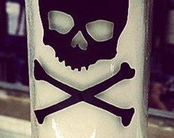 1 SKULL White CANDLE with VINYL Design Choose your colors