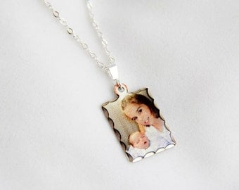 Sterling Silver Rectangle Photo Charm ... Small