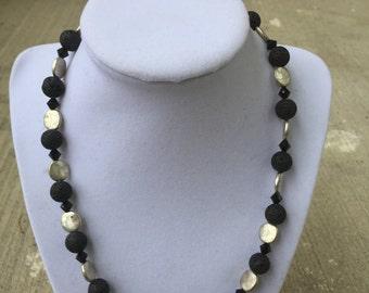 Black Lava Bead Necklace