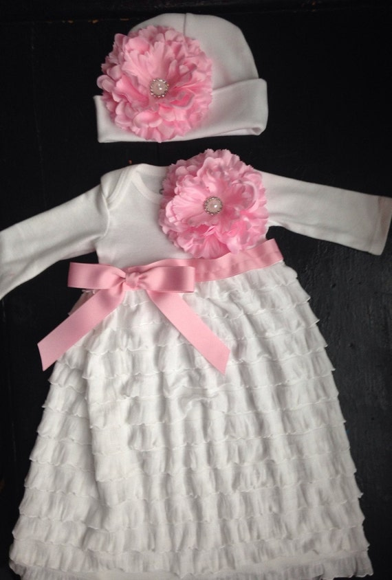 white ruffle coming home outfit take home outfit going home