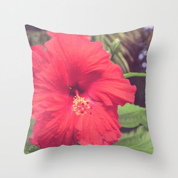 Red Hibiscus Decorative Pillow : Throw Pillow Red Hibiscus Flower Tropical Nature Floral