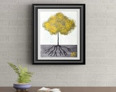 Yellow Tuft Tree Signed Art Print of Signature Original By Rafi Perez