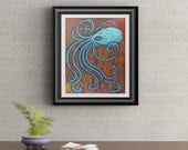 Vintage Octopus Signed Art Print of Signature Original By Rafi Perez