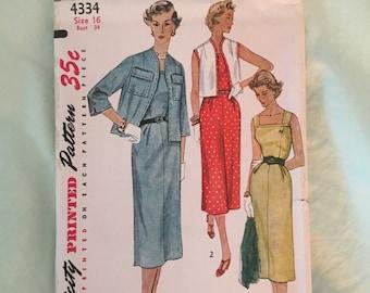"""vintage simplicity pattern dress jacket uncut 1953 rare 4334 sz 16 bust 34"""""""