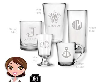 Set of Monogrammed Glasses, Personalized Glassware, Custom Drinkware, Monogram Glasses, Monogram Barware, Wedding Gift