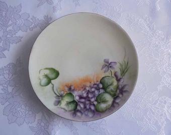 Hand Painted Purple Violets Plate Bavarian Dayton