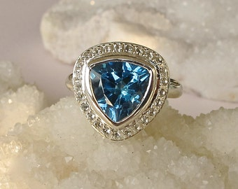Trillion Halo Engagement Ring- Non-Traditional Alternative Engagement Ring- Blue Topaz Promise Ring- Unique Engagement Ring for Her