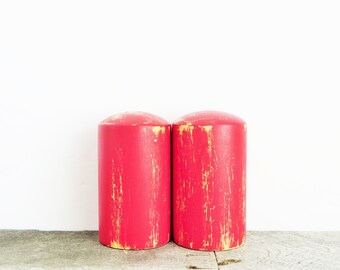 Bright Red Salt and Pepper Shakers - Shabby Chic Red - Upcycled Kitchen Decor