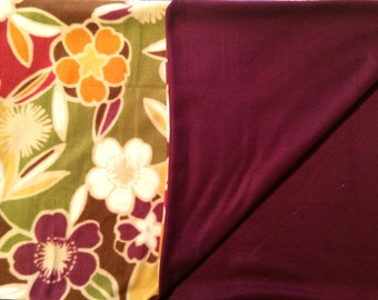 Flower And Purple Fleece Baby Blanket For A Girl