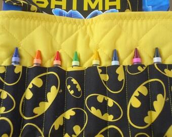 Batman coloring bag.  Batman logo crayon bag.  Complete with Batman coloring book .  Ready to ship
