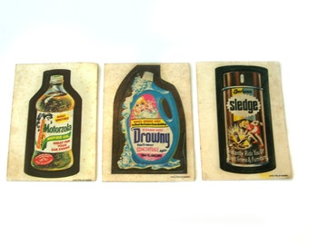 Vintage OPC  Motorzola Drowny Sledge Sticker Trading Cards Printed in Canada O-Pee-Chee Gum