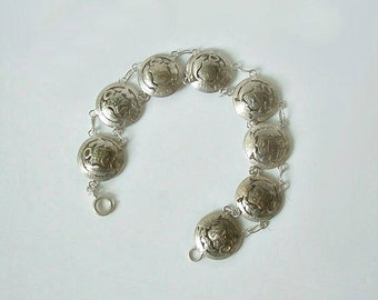 Antique Coin Bracelet Peruvian Cut Out / Away .900 Silver