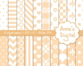 "Cream and White Digital Papers - Matching Solid Included - 21 Papers - 8.5"" x 11"" - Instant Download - Commercial Use (124)"