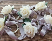 Wrist Corsage, Off White Rose with Silver Grey ribbon on pearl bracelet, Wedding Corsage