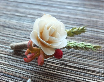 Rustic Boutonniere, Ivory Flower & Wheat Boutonniere, groomsman Boutonniere