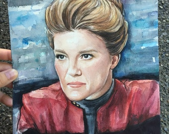 Captain Kathryn Janeway ORIGINAL Watercolor Portrait, Star Trek: Voyager 9x12