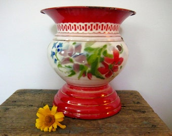 vintage enamel vase - floral design - flowers - container - enamelware - home decor - cottage decor - table decor - floral bouquet - signed