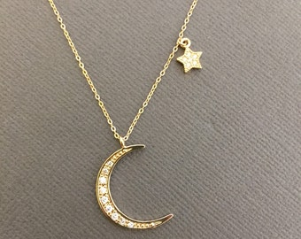 Moon and star Necklace, Gold Moon silver star necklace, Moon necklace, Star necklace, Jewelry, I love you to the moon and back