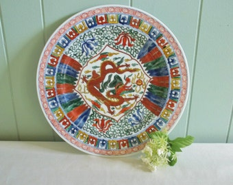 Dragon plate or platter, hand decorated in Hong Kong, Japanese PorcelainWare ,wall hanging, muted jewel tones & rust, feathers, Asian decor