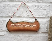 Vintage Canoe Wall Hanging Embroidered and Beaded