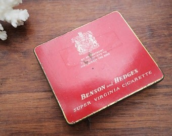 Vintage Benson and Hedges Super Virginia Cigarette Red Tobacco Tin
