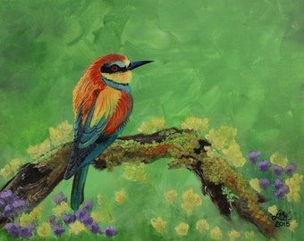 Blue Tailed Bee Eater Original  Acrylic Painting on Canvas Board