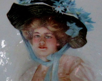victorian lady porcelain decorator plate signed