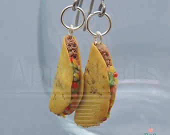 Taco Earrings, Hanging Hard Taco Earrings, Miniature Food Earrings, Polymer Clay Jewelry, Food Jewelry, Nickel Free Earrings