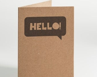 Hello Speech Bubble Notecard