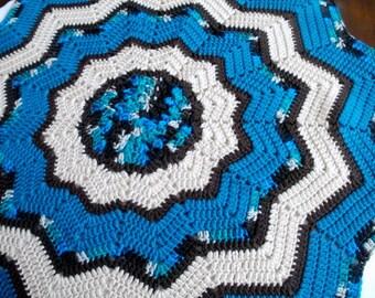 Crochet Baby Blanket Crochet Lap Blanket Blue and Brown Baby Blanket Round Baby Blanket Round Lap Blanket