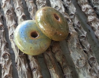 Memorial Bead - Custom Keepsake Stoneware Pottery Pet Cremains Bead - DISK COIN WHEEL Style Bead