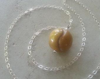 Memorial Bead Necklace - Custom Keepsake Stoneware Pottery Pet Cremains Pendant - Choose Size and Color - TENNIS BALL or BASEBALL