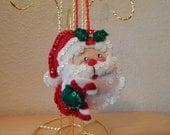 Hand Stitched Felt 3D Santa Face Ornament