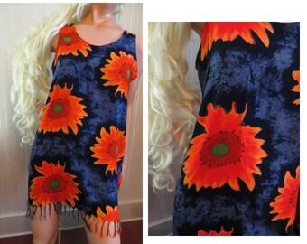 Vintage Mini Play Dress or Beach Cabana Cover Up, Rayon Pullover, Fringe Bottom, Hawaiian Flower Print, Size Medium