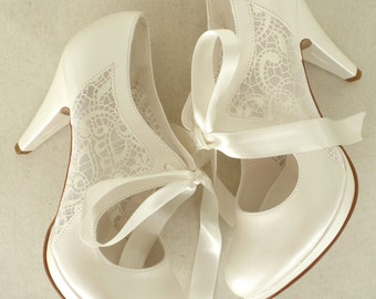 """Wedding Shoes - Bridal Shoes with Ivory Lace and Satin Ribbons, 4""""Heels"""
