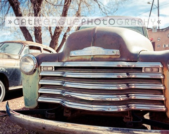 Vintage Chevy at Snow Cap Diner on Route 66, photo, chevrolet, classic car horizontal color photograph 8x12, 12x18, 16x24