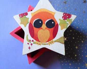 Baby Owl- Fall Owl Box- Folk Art-Original Design