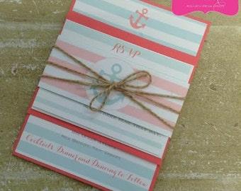 NAUTICAL ANCHOR STRIPED Wedding Invitations with Belly Band and Twine - Personalized choose your paper color, ink color, fonts, motif