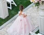 THE BLUSHING ELIZABETH Gown  - Flower Girl Dress - Lace Dress - Bridal - Wedding Dress by Isabella Couture