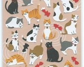 Japanese / Korean Paper Stickers- CAT and Gold Fish