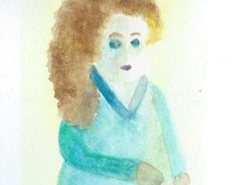 Original Watercolor Portrait Painting/ Illustration- Lady In Blue